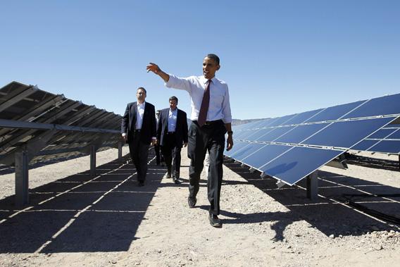 U.S. President Barack Obama visits the Copper Mountain Solar Project in Boulder City